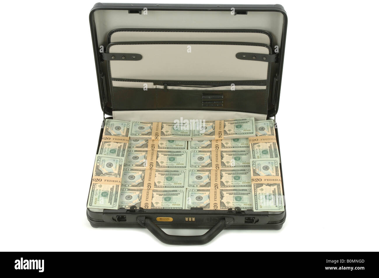 a briefcase full of American Dollars money - Stock Image