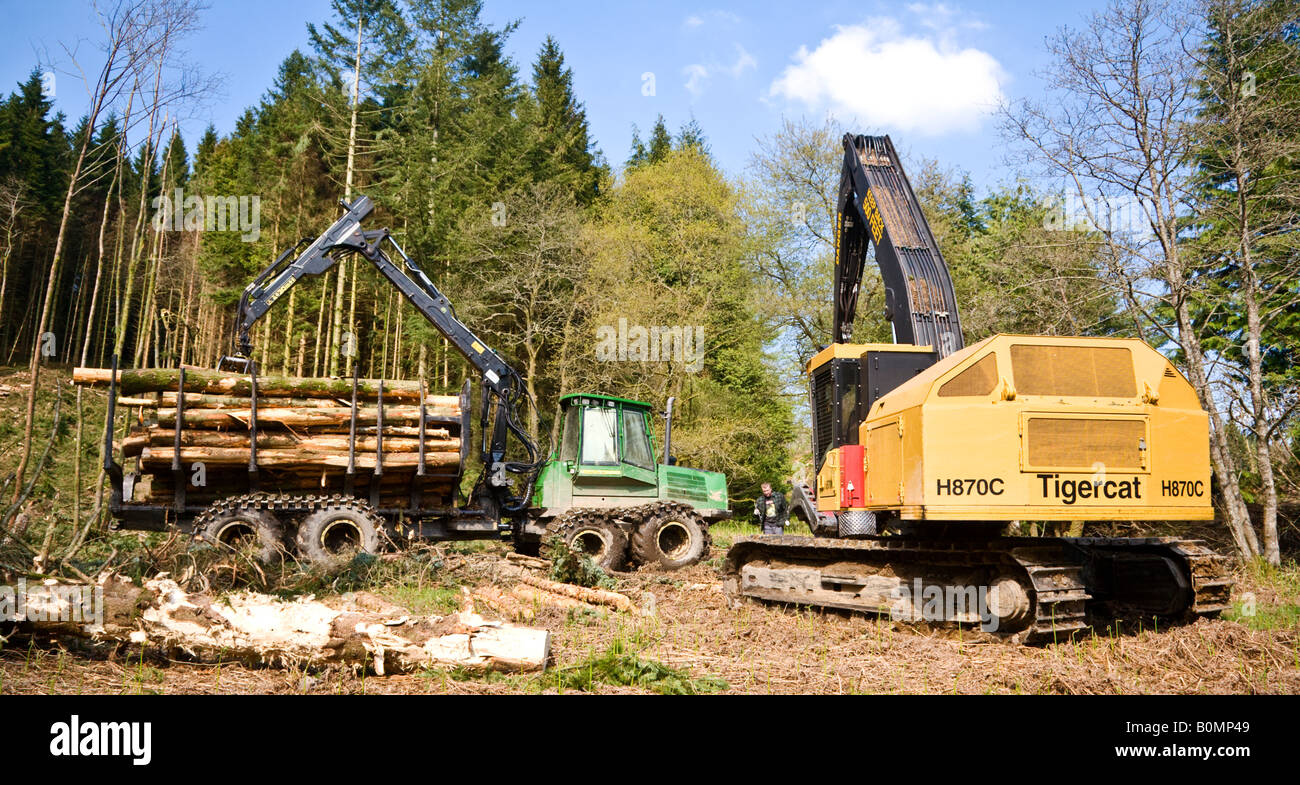 Heavy forestry machinery used in logging operations, Scotland. Stock Photo