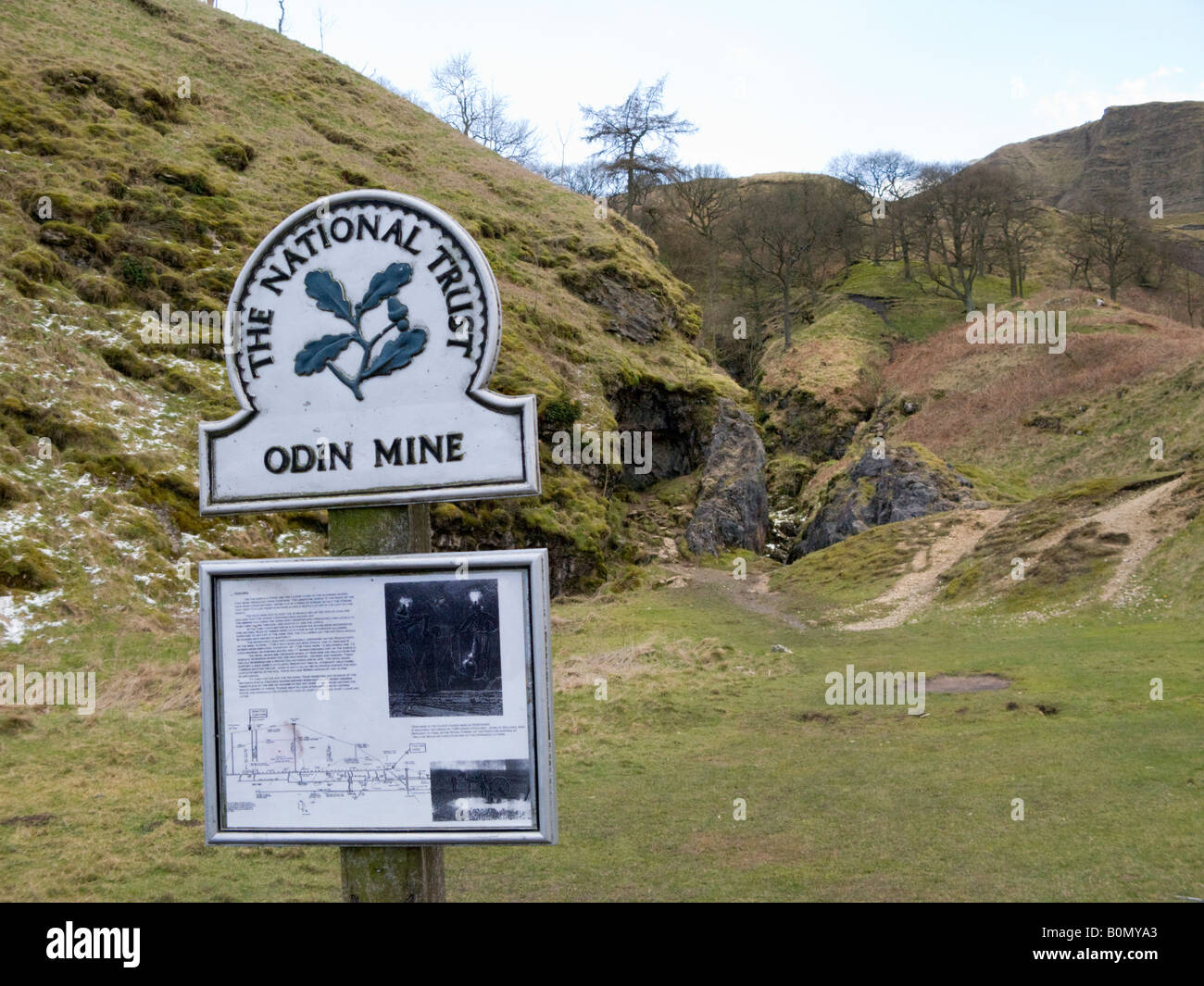Entrance to the abandoned Odin lead mine, at the foot of Treak Cliff hill at Castleton, Derbyshire, England. UK. - Stock Image