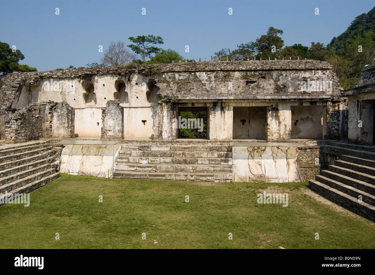 King Pakal castle detail showing the courtyard and main entrance at Palenque ruinsStock Photo
