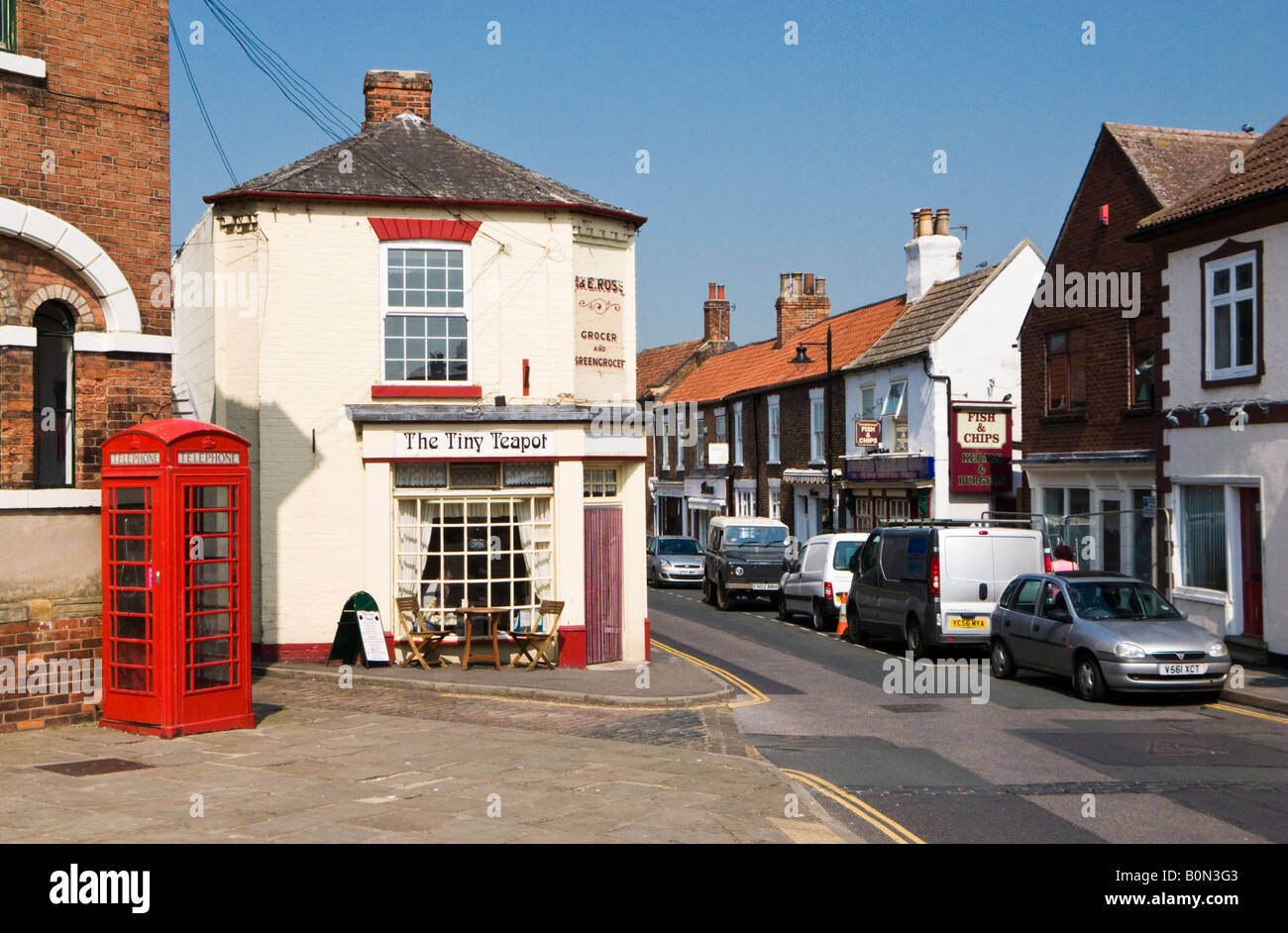 Head of the High Street Epworth North Lincolnshire UK with Traditional Tea Room and Phone box - Stock Image