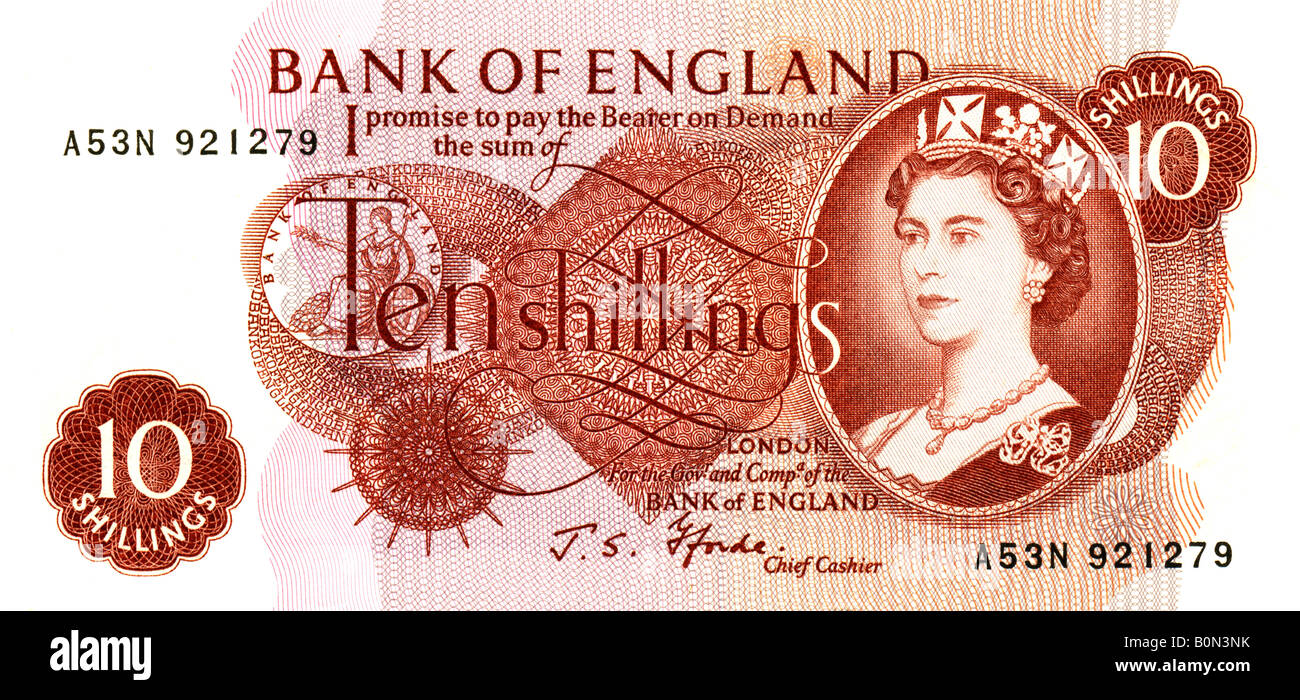 1960s Mint Bank of England Ten Shillings Note with signature of J S Fforde  Chief Cashier FOR EDITORIAL USE ONLY - Stock Image