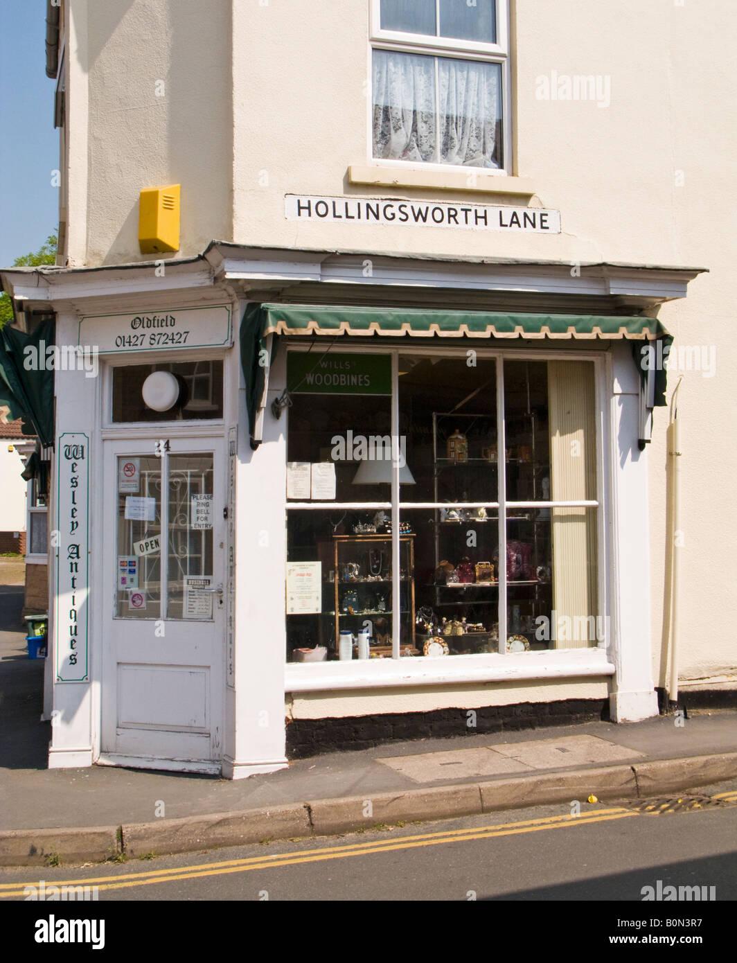 Antique shop exterior Epworth, North Lincolnshire, England UK - Stock Image