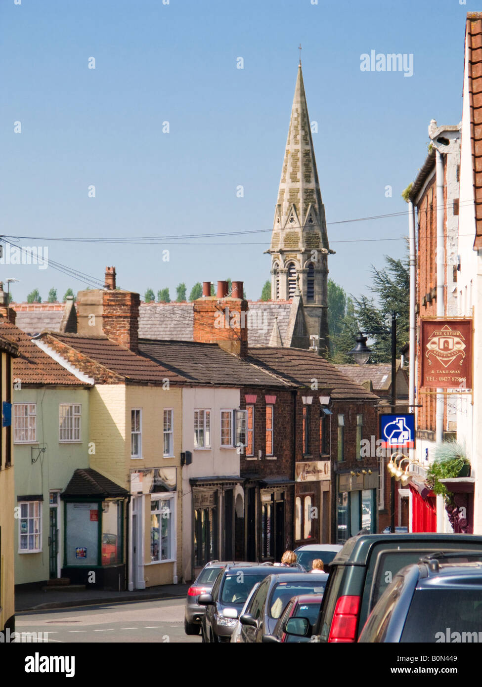 High Street and Wesley memorial Methodist Church spire at Epworth North Lincolnshire UK - Stock Image