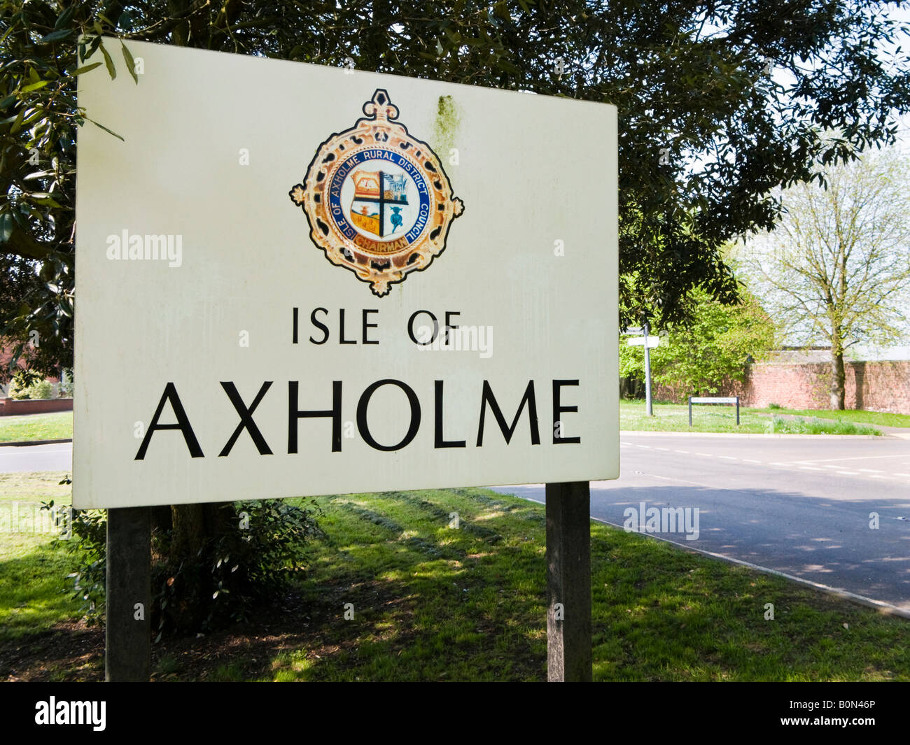 Historic region of Lincolnshire the Isle of Axholme sign at Eastoft, North Lincolnshire, UK - Stock Image