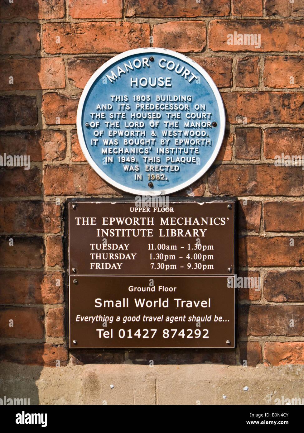 Mechanics Institute building Epworth UK - Stock Image