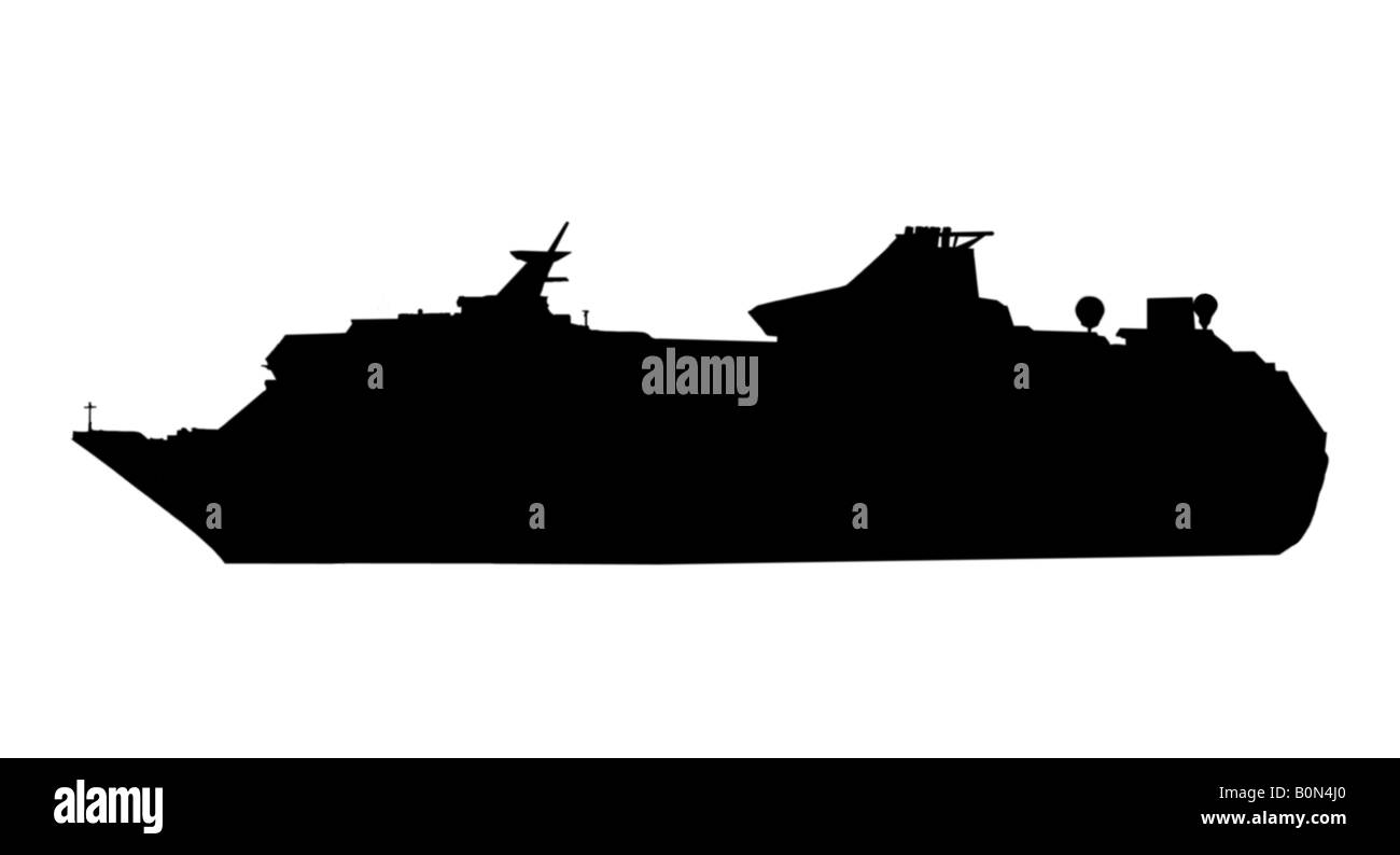Silhouette of a cruising ship - Stock Image