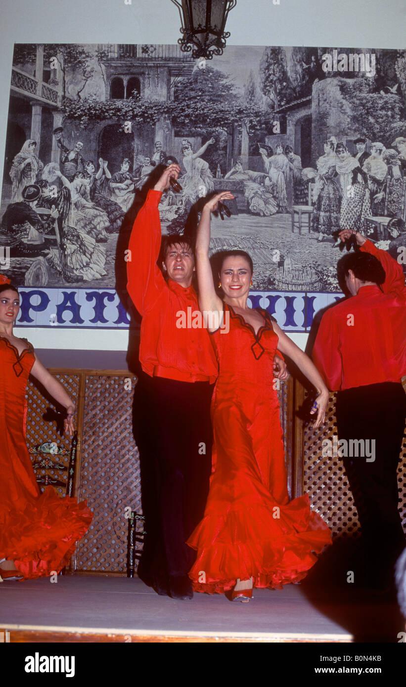 Andalucia Seville Flamenco Folklore Show At El Patio Sevillano Stock