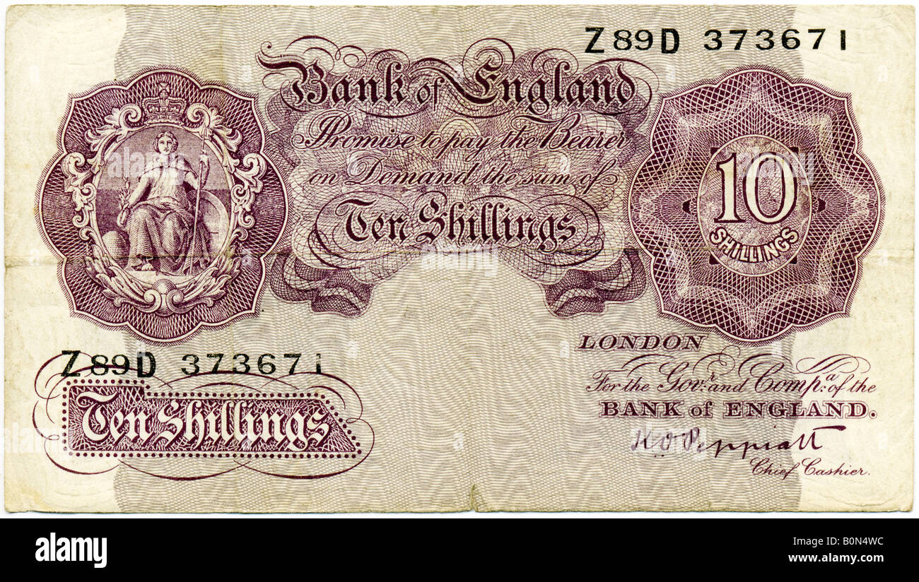 1940s Mint Bank of England Mauve World War II issue Ten Shillings Note with sigof K O Peppiatt  Chief Cashier  FOR - Stock Image