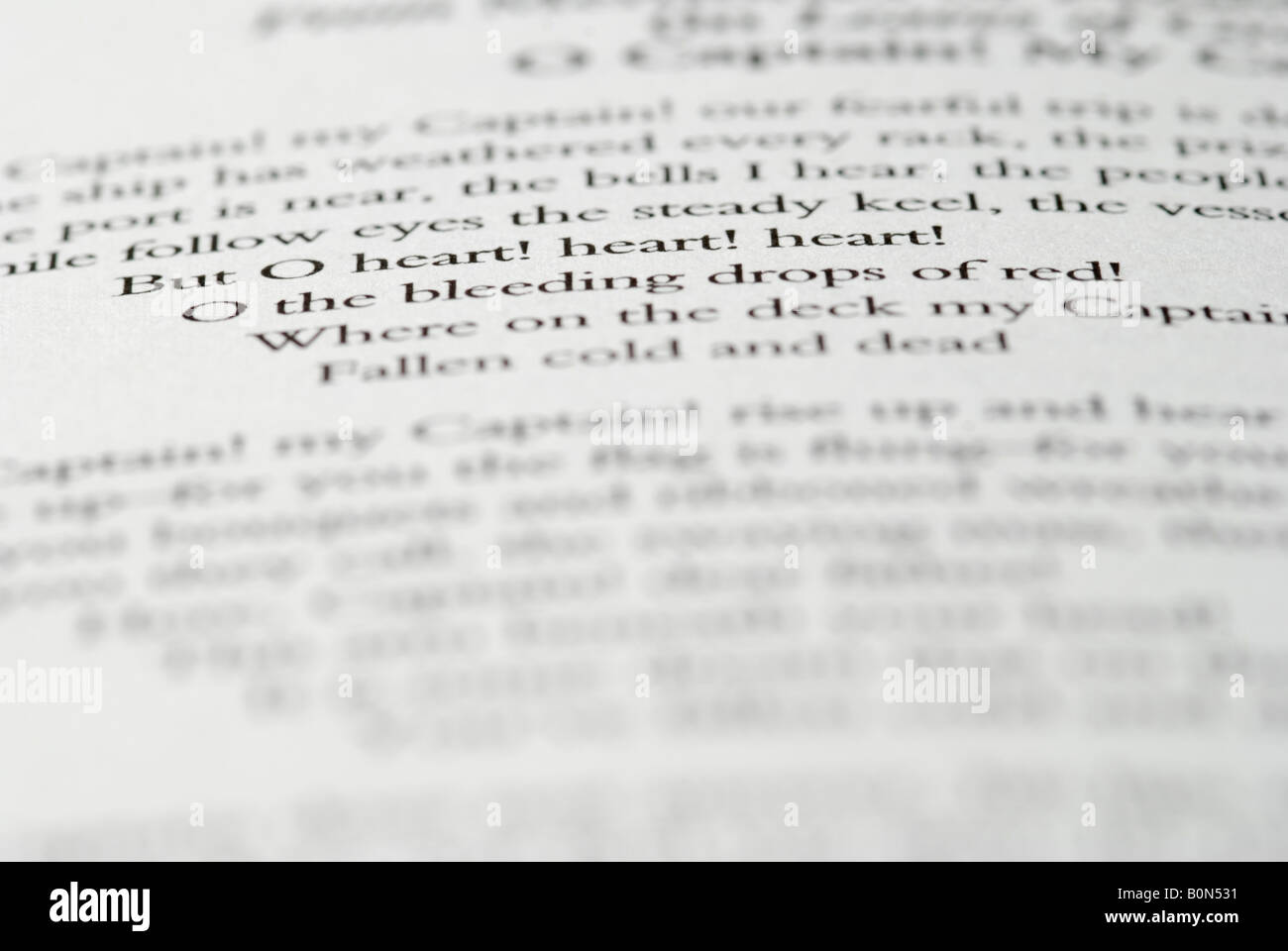 Close up of English poem in book - Stock Image