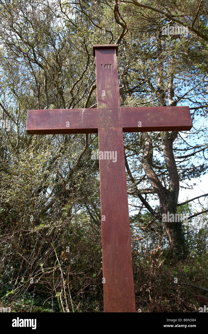 stations of the cross crucifixes for pilgrims on the ascent of slieve patrick in saul county down northern ireland - Stock Image