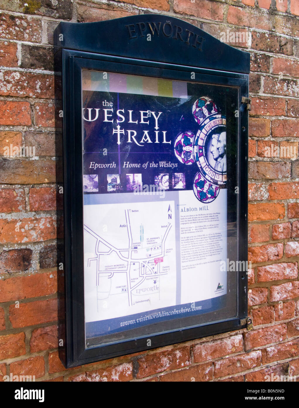 Wesley Trail noticeboard in the village of Epworth North Lincolnshire UK - Stock Image