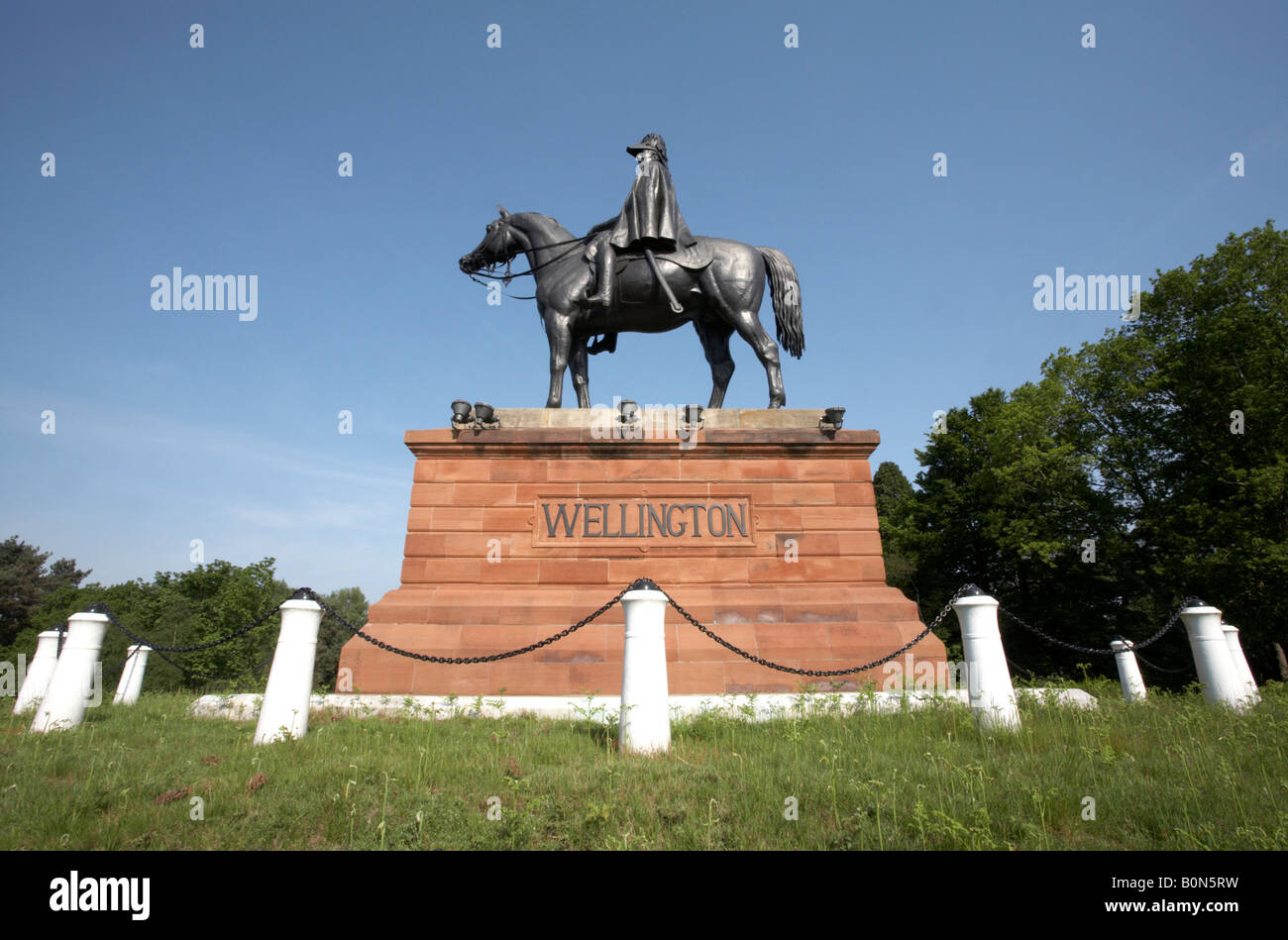 Duke of Wellington Statue Round Hill Aldershot Hampshire - Stock Image