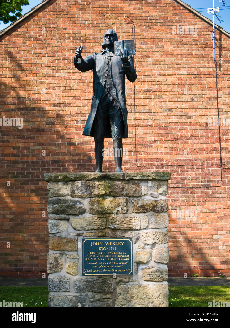 Statue of John Wesley at Epworth North Lincolnshire UK founder of Methodism - Stock Image