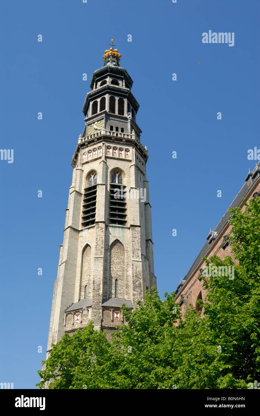 Bell tower of the medieval Cathedral in Middelburg, the Netherlands Stock Photo
