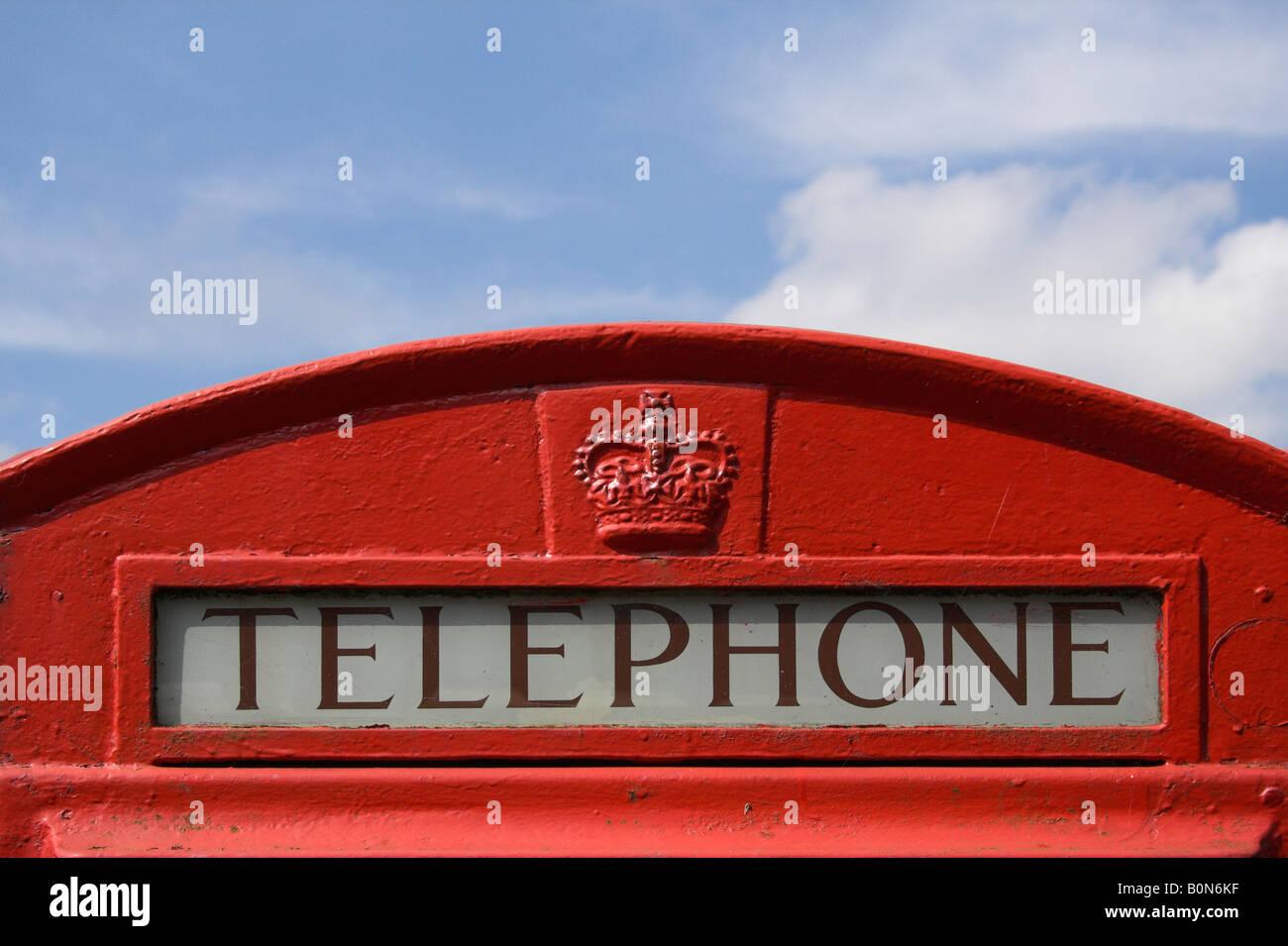 Traditional British red telephone box - Stock Image