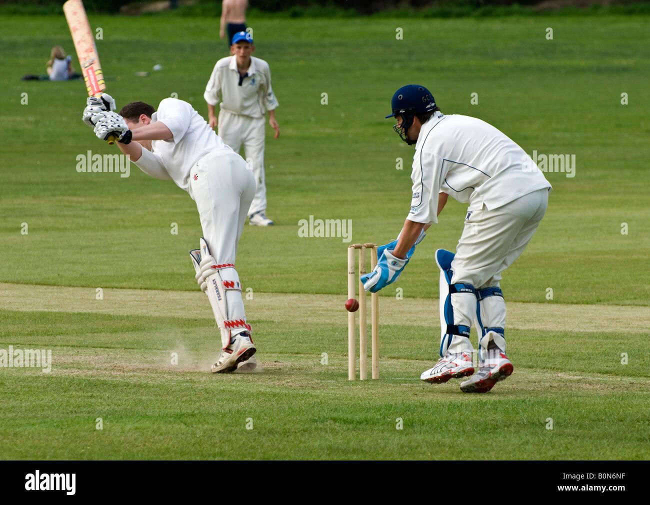 Batsman Wicket Keeper Cricket - Stock Image