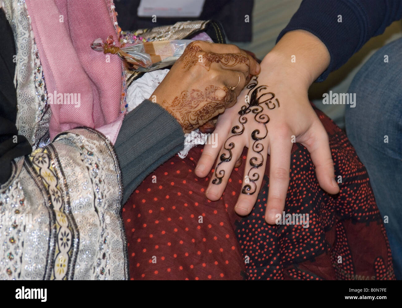 Adult Woman Applying Henna Tattoo On A Tourist Girl S Hand Yemen