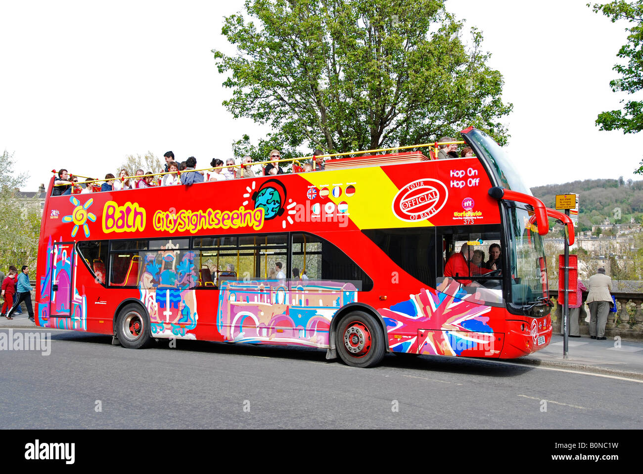 a traditional tour bus in bath,england - Stock Image