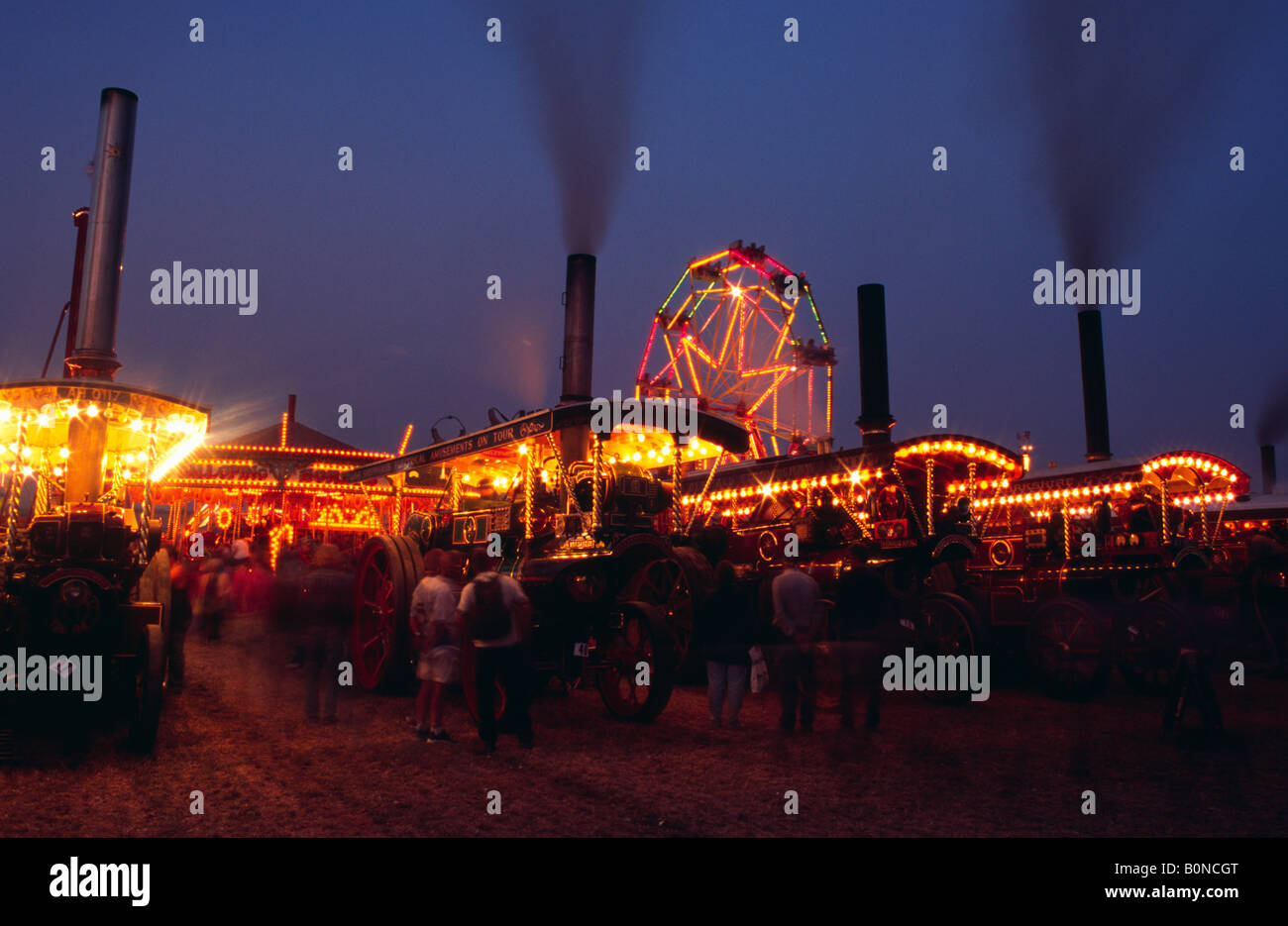 Showmans engines powering the Great Dorset Steam Fair 2004 - Stock Image