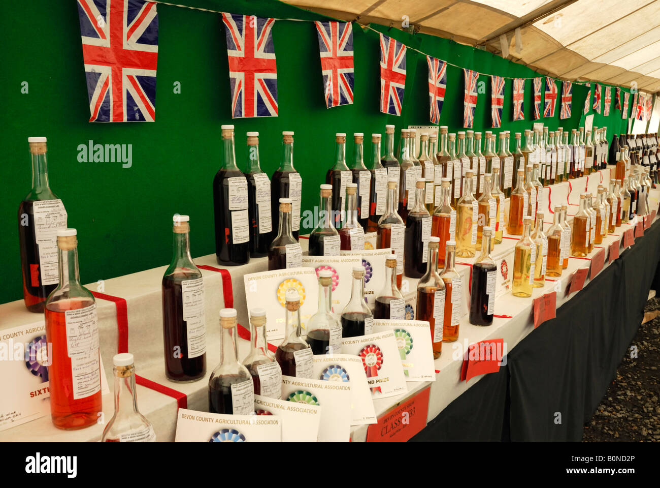 Local English wines on display at the Devon County Show, UK - Stock Image