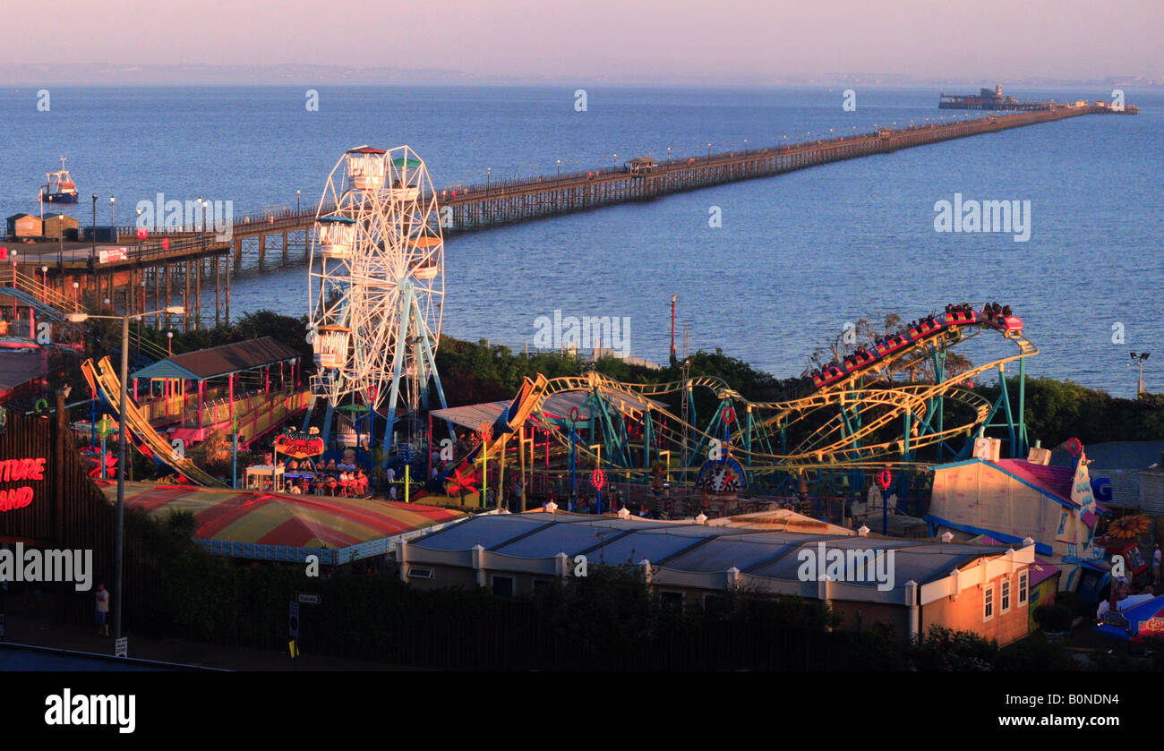 Southend Pier and Adventure Island Fun Park in Southend-on-Sea, Essex - Stock Image