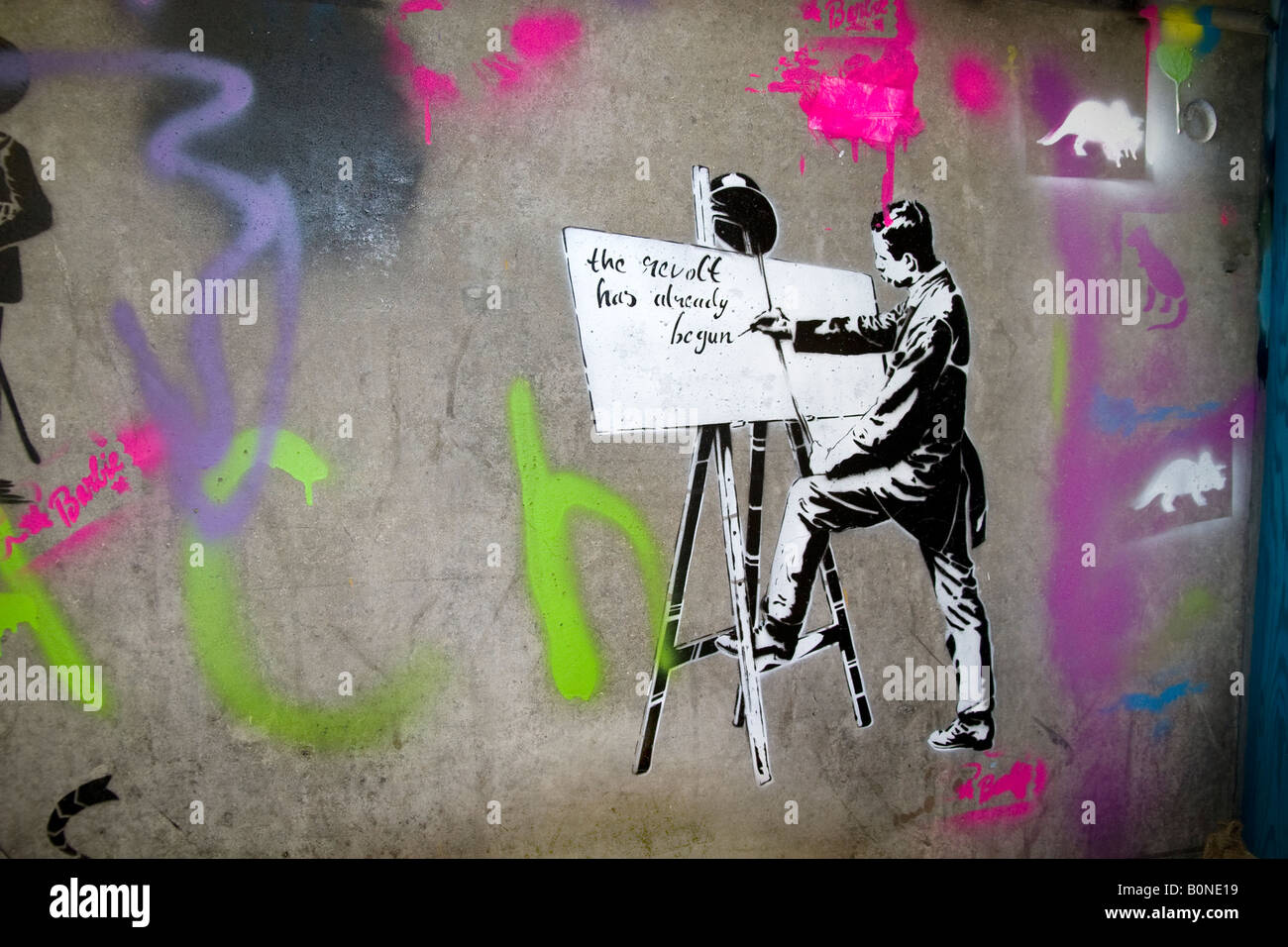 Stencil art from Banksy's Cans Festival - Stock Image