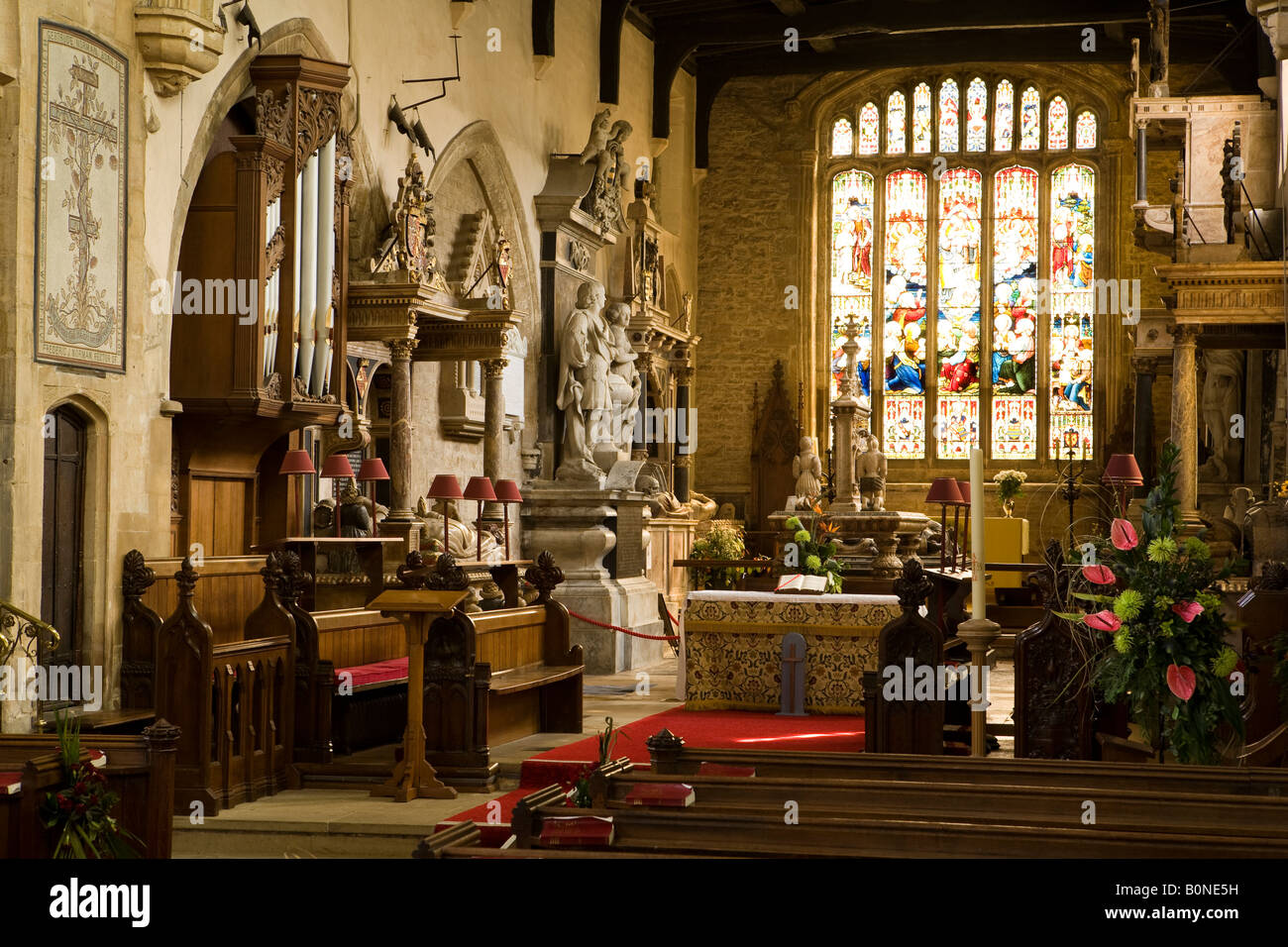UK England Lincolnshire Bottesford St Marys Church interior Roos family tombs in the chancel Stock Photo