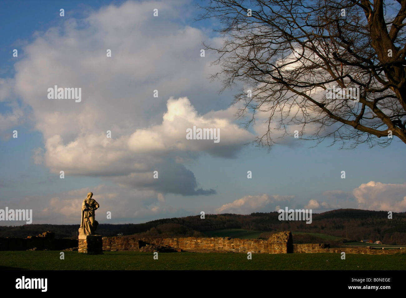 statue at the ruined castle in Arnsberg Sauerland North Rhine Westphalia Germany - Stock Image