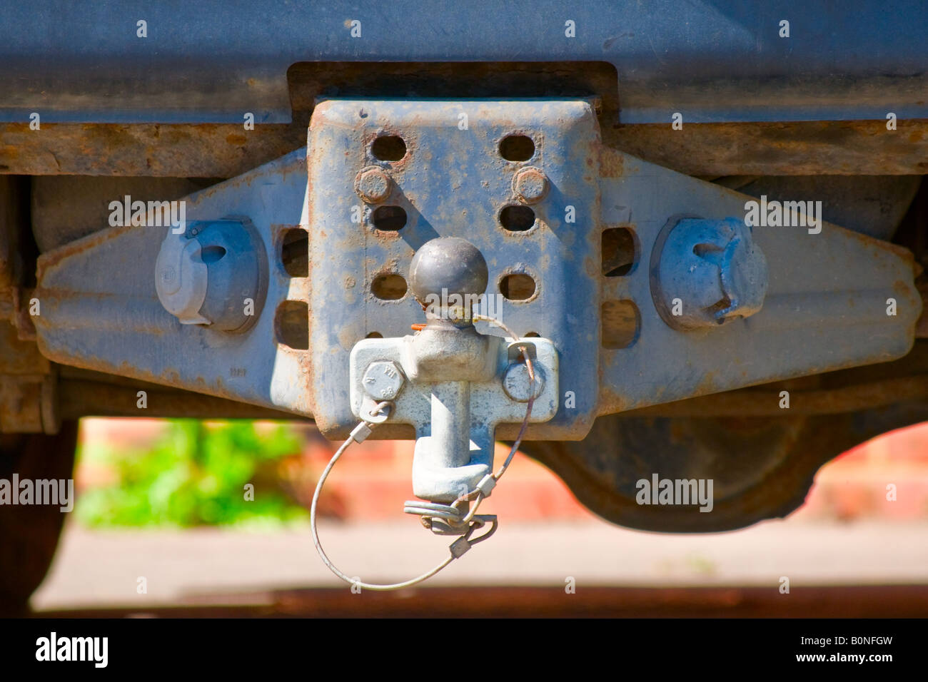 Land Rover tow bar, View from the rear behind close up - Stock Image