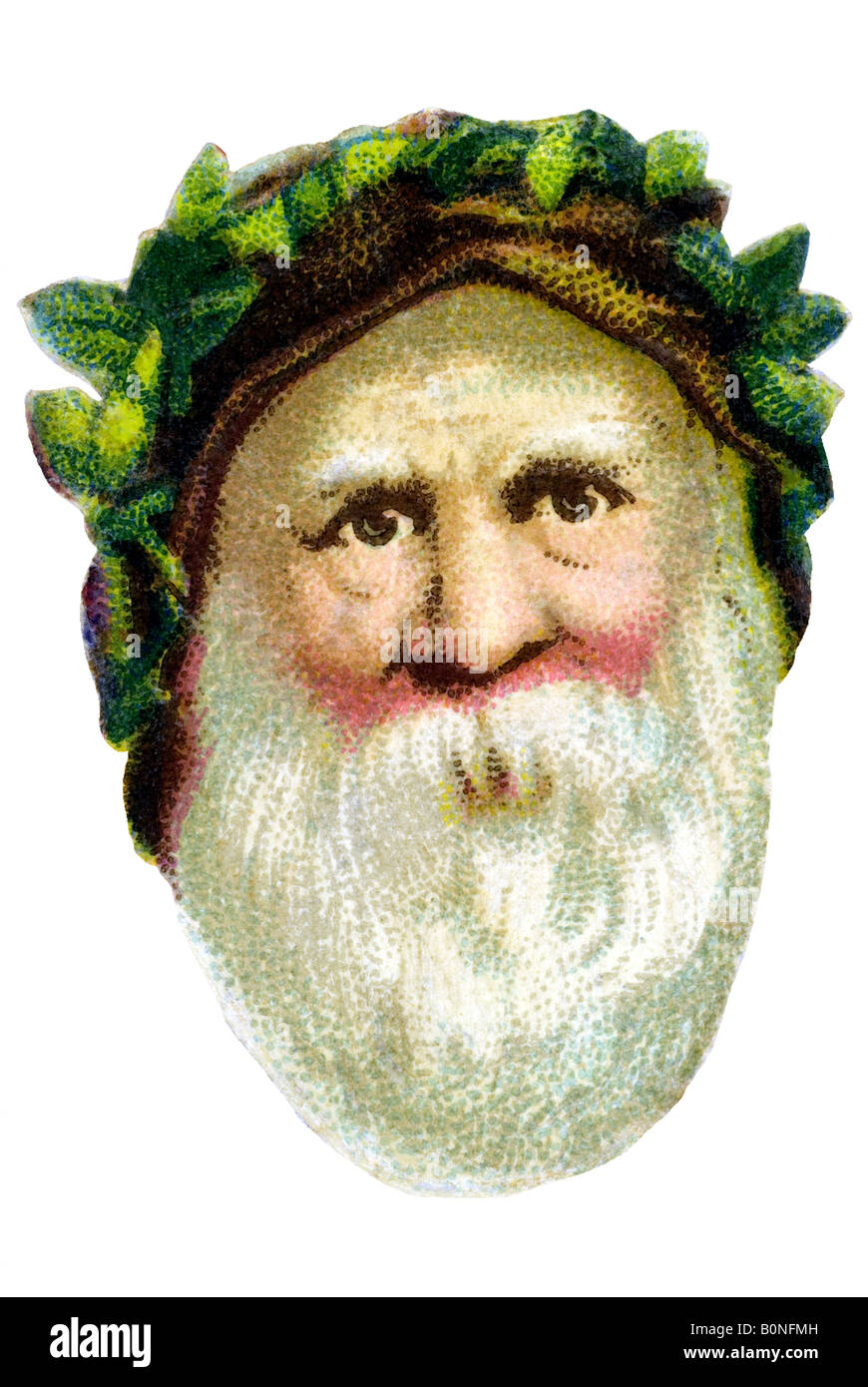 old fashioned Father Christmas brown cap white beard green leaves 19th century Germany - Stock Image
