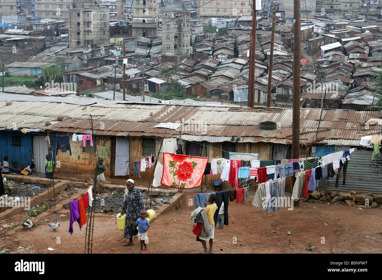 Mathare Valley, one of the most notorious slum in Nairobi, Kenya - Stock Image