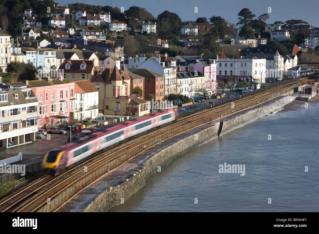 Dawlish seafront with railway line Stock Photo
