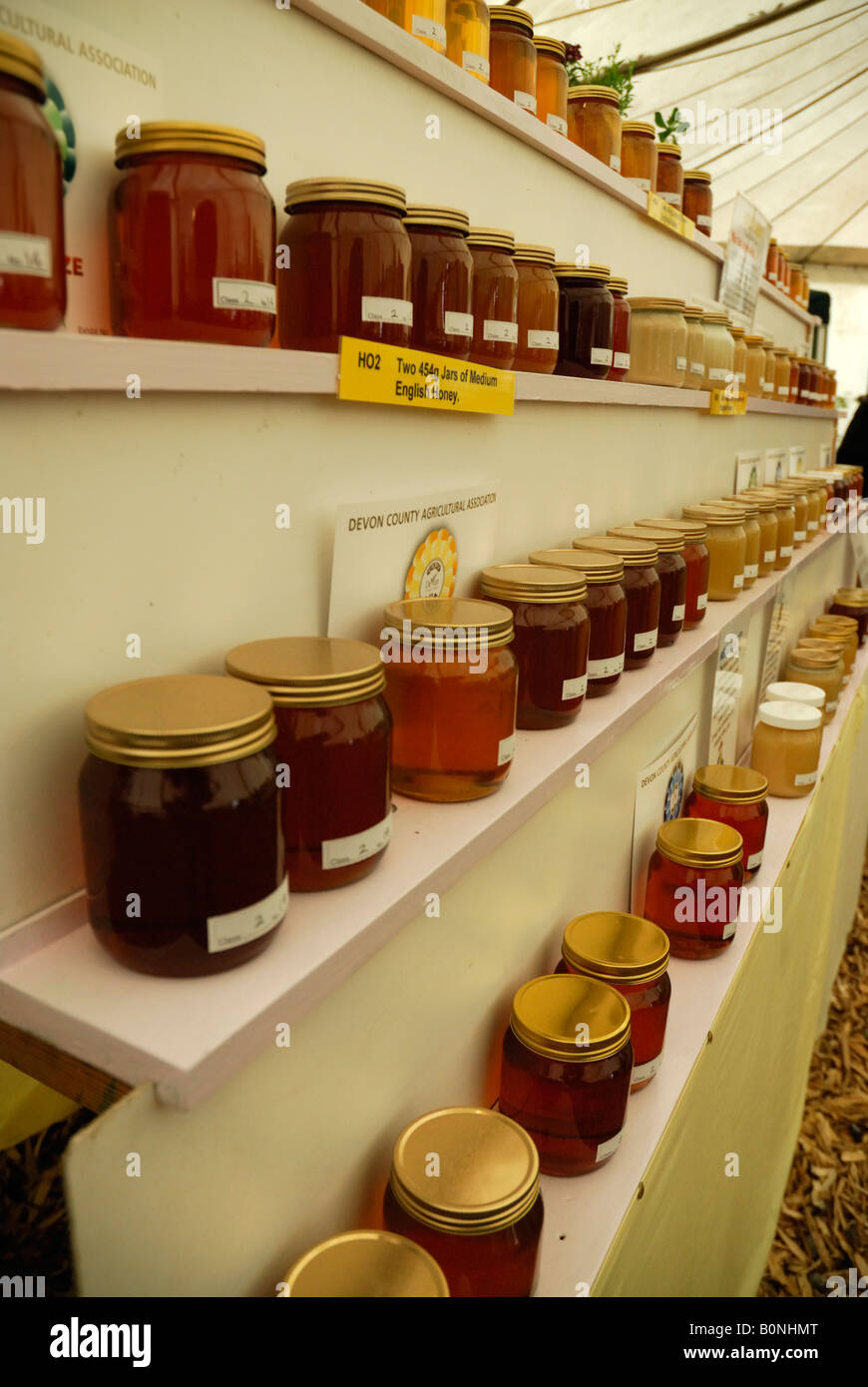 Jars of honey on display at the Devon County Show, Exeter, UK - Stock Image