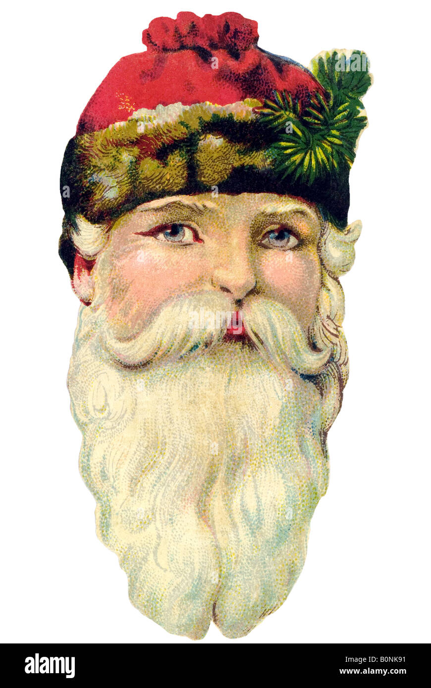 old fashioned Father Christmas red cap and big white beard 19th century Germany - Stock Image
