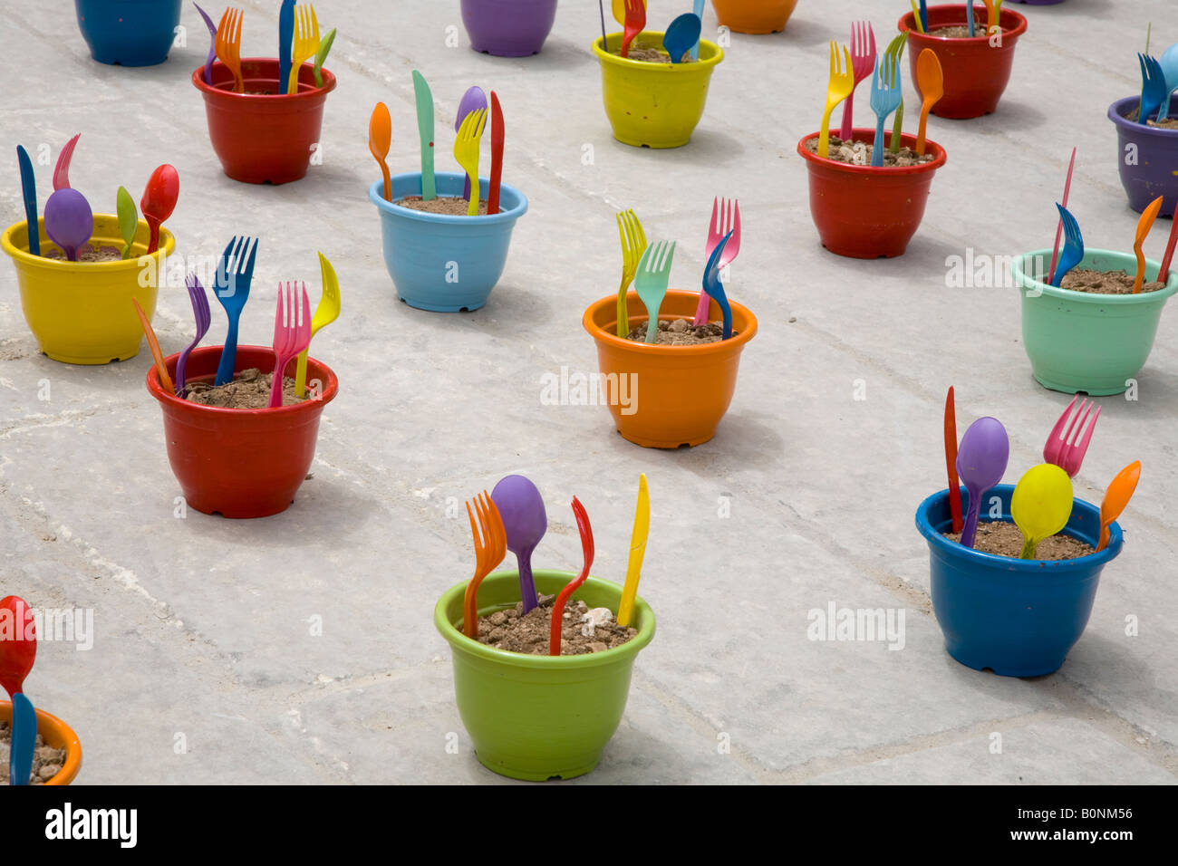 Plastic Tide, Forks, knives, spoons, a Fingers art product Installation Malta Earthgarden. - Stock Image