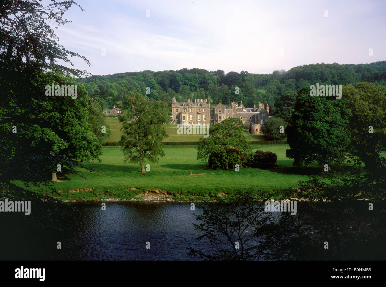Melrose - Abbotsford House, home of Sir Walter Scott on the River Tweed - Stock Image