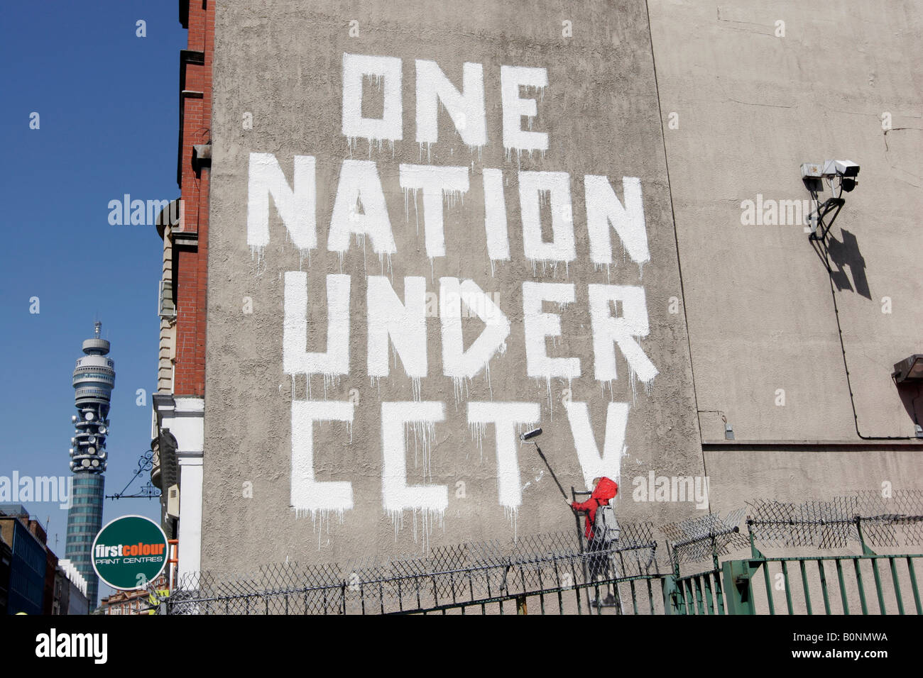 One Nation Under CCTV - Street art by Banksy in London's Newman