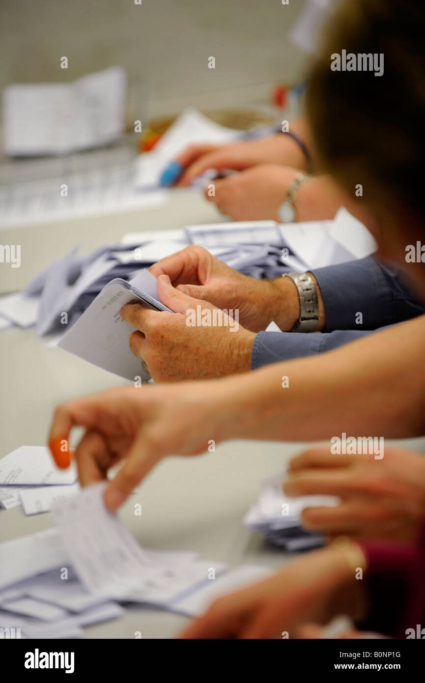 Voting slips are verified before being counted on count night at a local election in Hastings, Sussex. Picture by - Stock Image