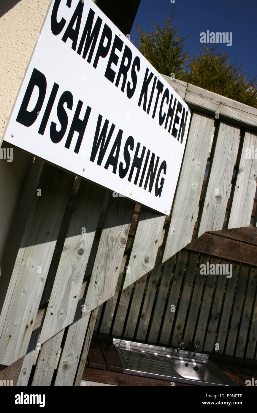 sign for washing up facilities on camp site, Ireland - Stock Image