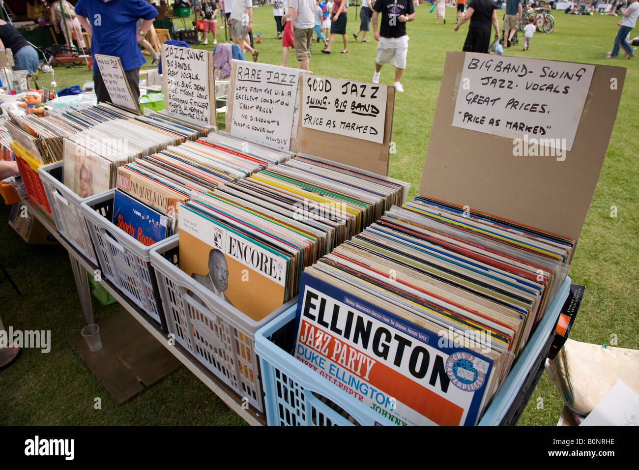 jazz lp vinyl records for sale at a charity car boot stall at the stock photo 17689882 alamy. Black Bedroom Furniture Sets. Home Design Ideas