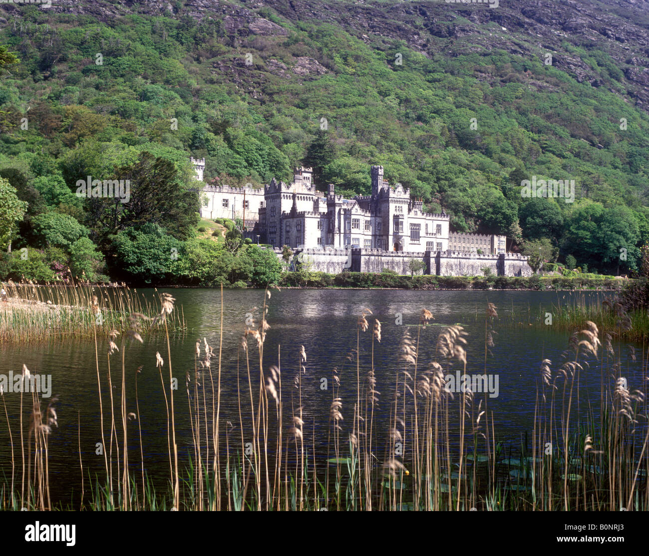 Kylemore Abbey - A magnificent late 19th century mansion on Kylemore Lough  in Connemara - Stock