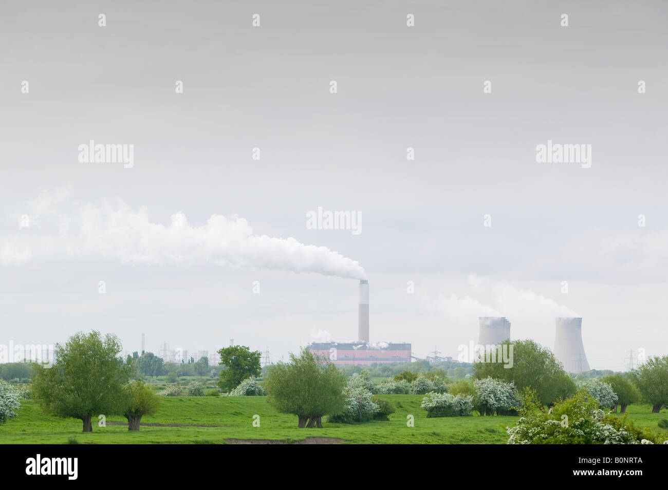Cottam Power station a coal fired power station in Nottinghamshire in spring emmitting massive quantities of C02 - Stock Image