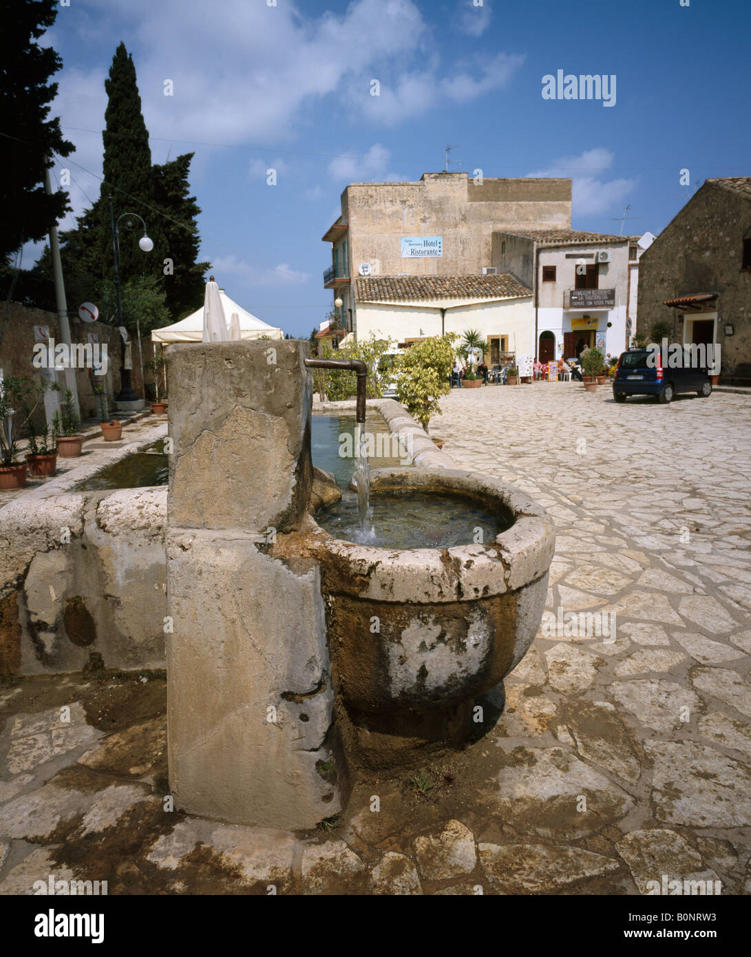 The communal water tap and trough. Scopello. - Stock Image