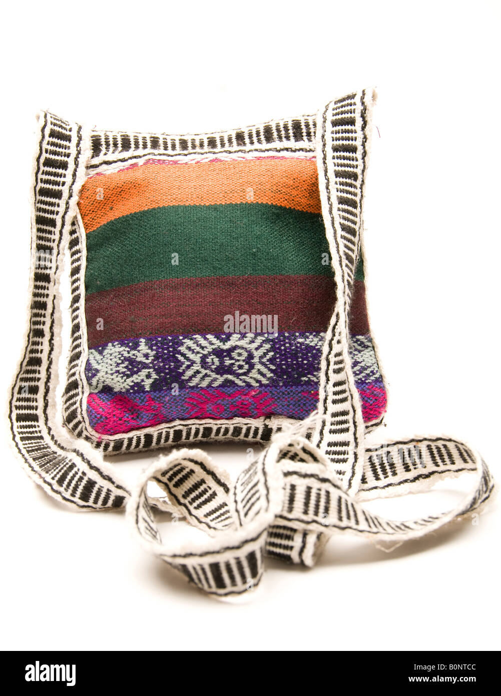 knitted hand made change purse handbag passport holder carry all produced in honduras central america Stock Photo