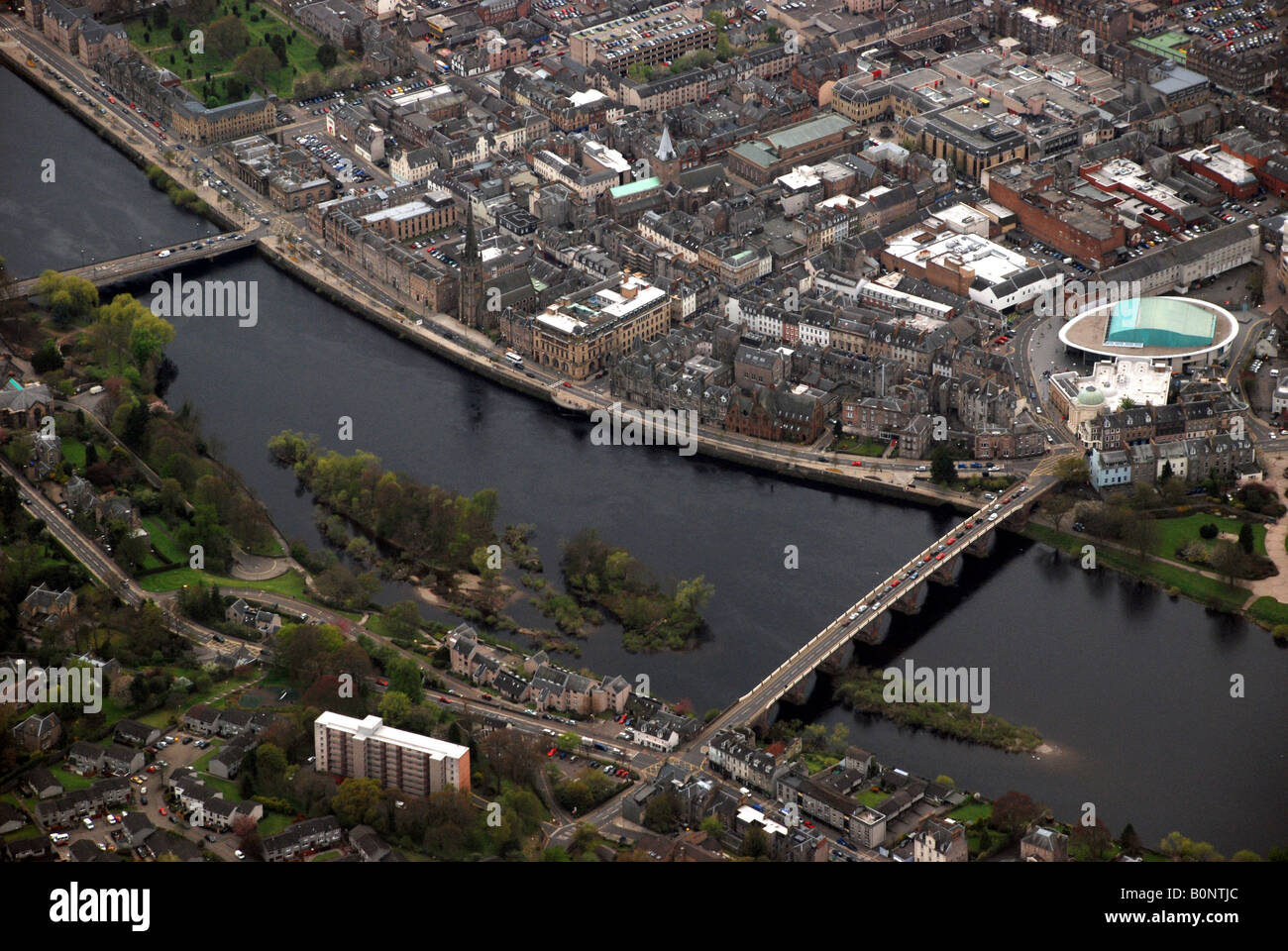 Aerial view of the River Tay and Perth City Centre - Stock Image