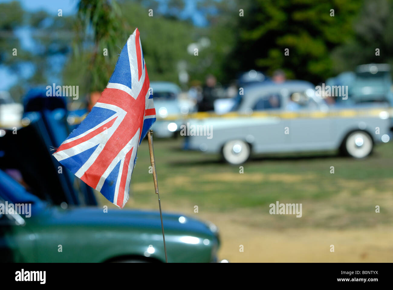British Flag At Vintage And Classic UK Car Show With Morris - Major car shows