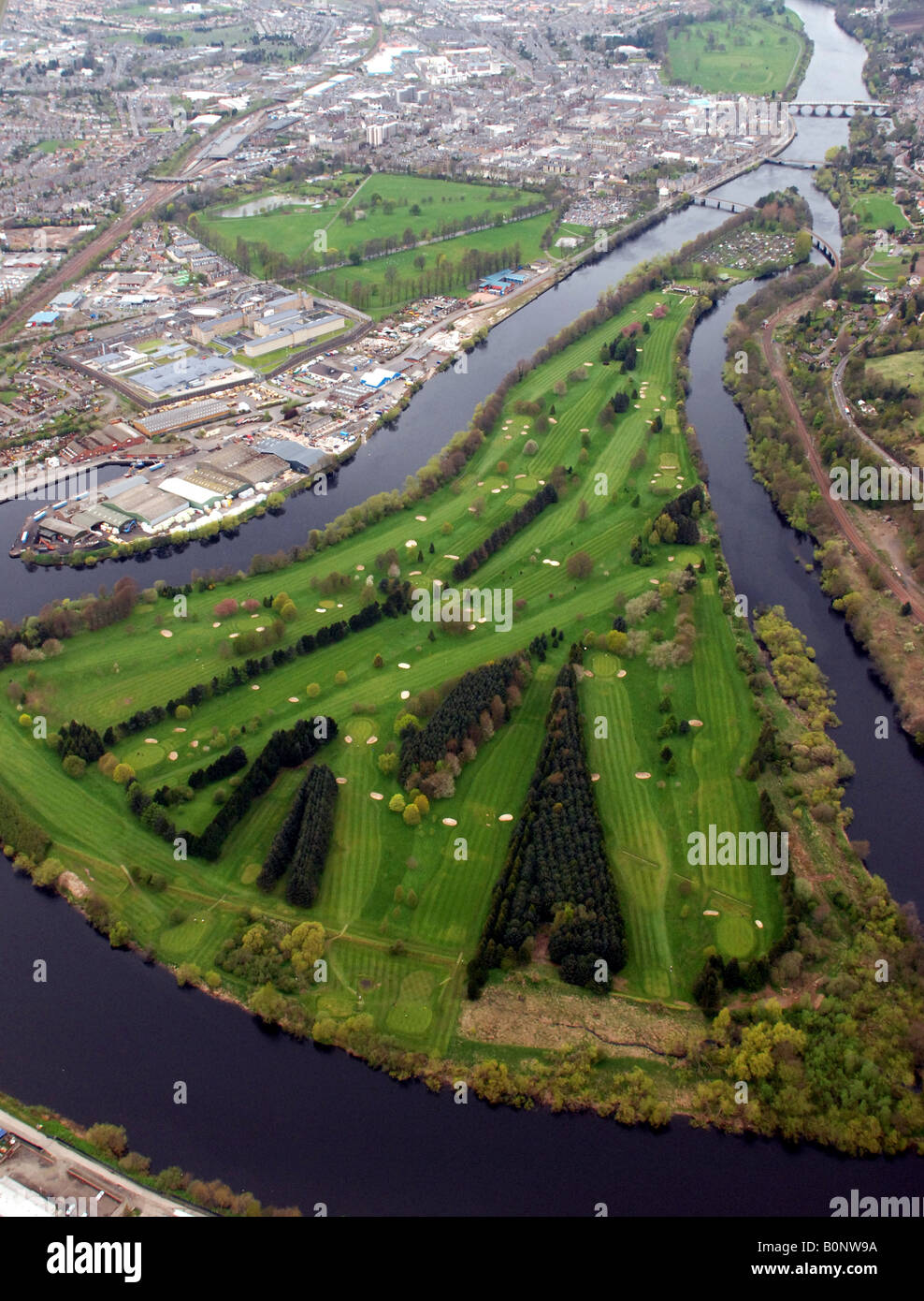 An aerial shot of Moncrieffe Island and King James the IV golf Course - Stock Image