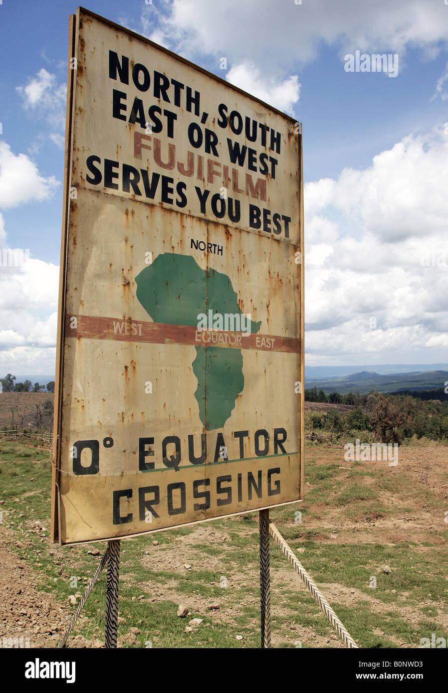 equator sign at the roadside Kenya Central Equator - Stock Image