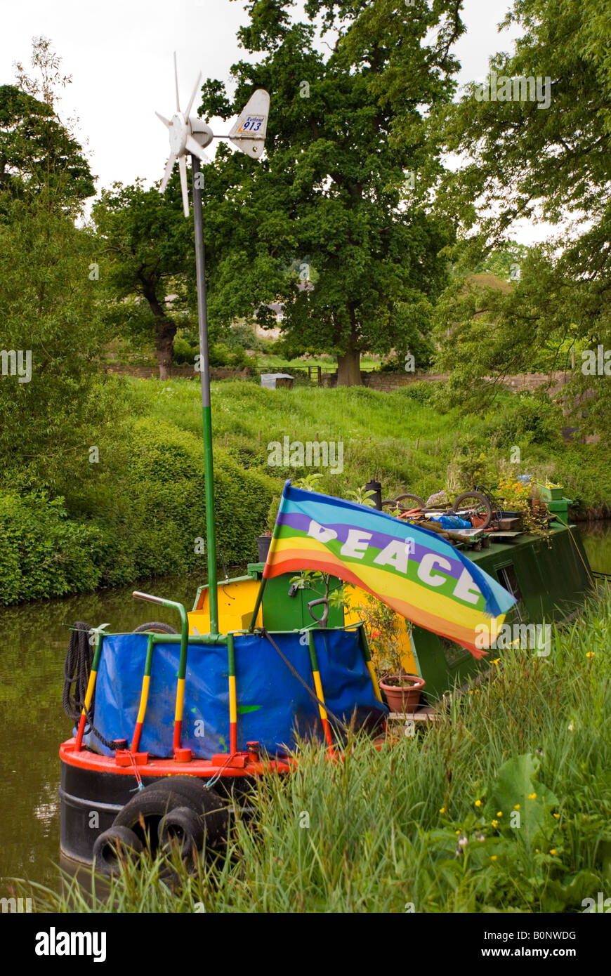 Bathampton BaNES England UK A wind turbine generates electricity on a canal boat on the Kennet and Avon Canal - Stock Image